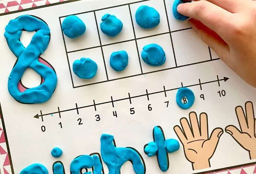 playdough on a playdough mat with number 8