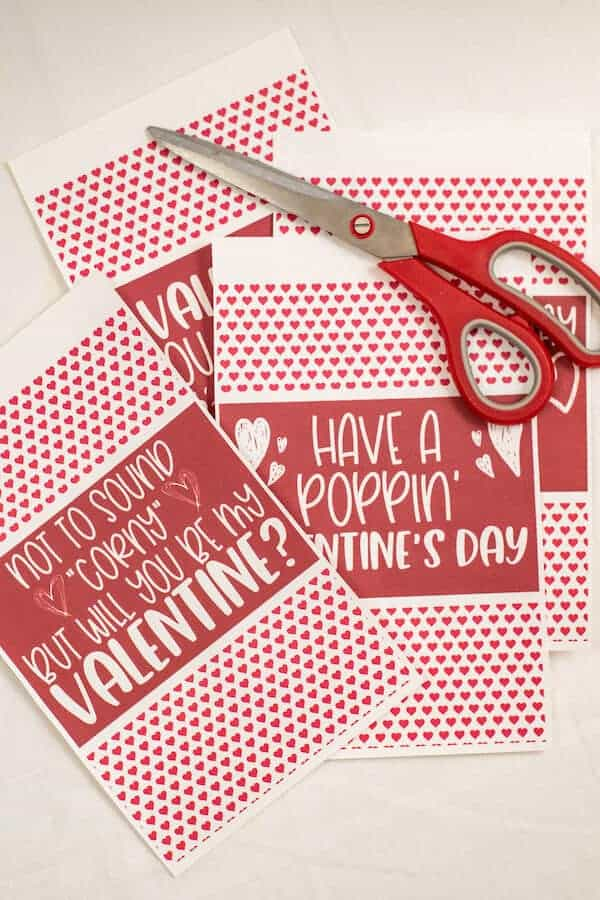 printable popcorn valentines cut out