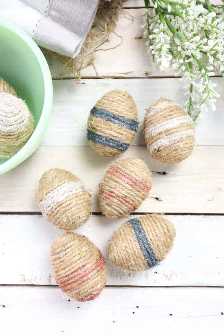 twine wrapped easter eggs