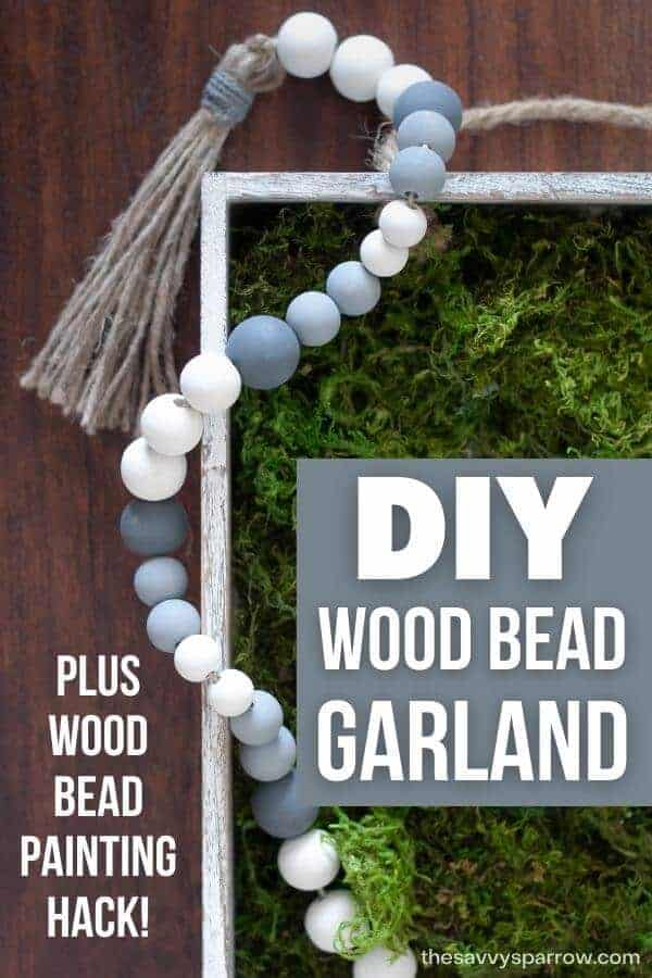 DIY wood bead garland with painted beads