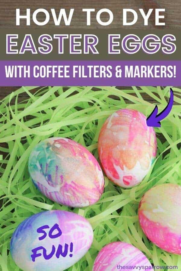 Easter eggs dyed with coffee filters and markers