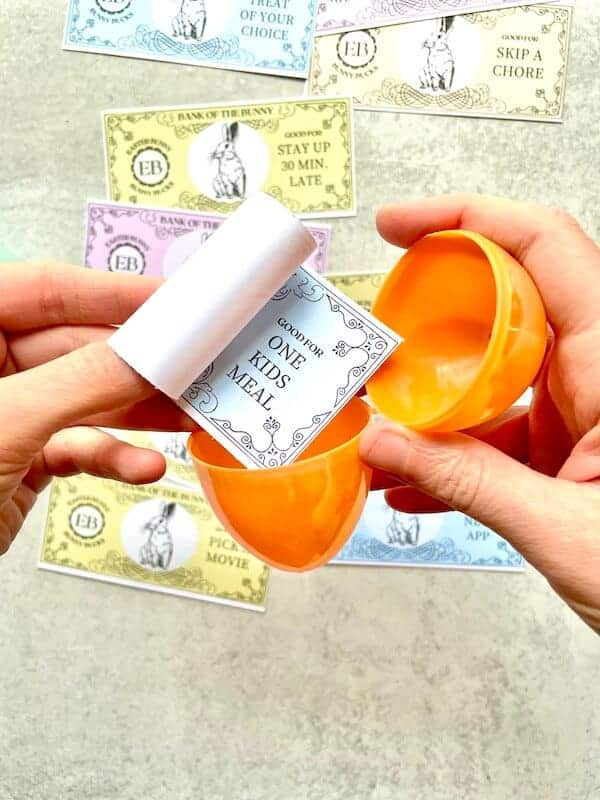 Easter coupons in a plastic egg