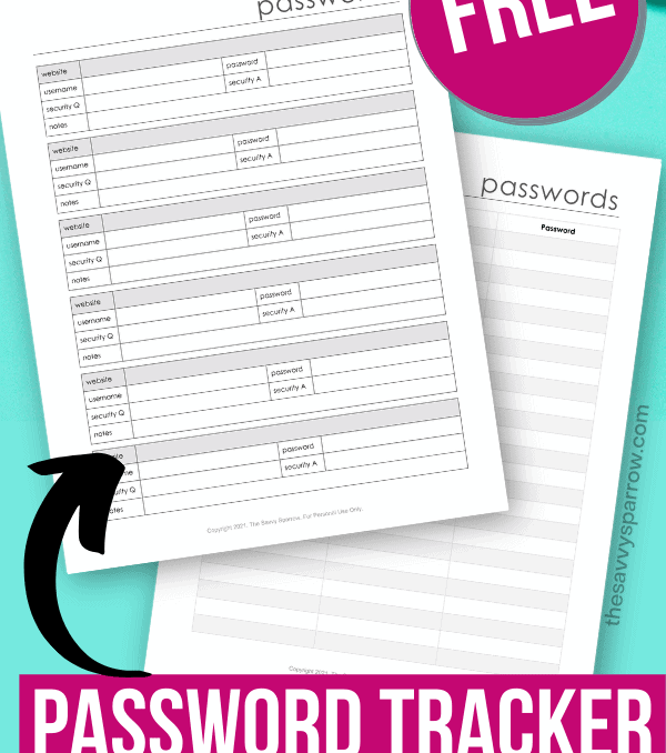 free printable password tracker that you can type in