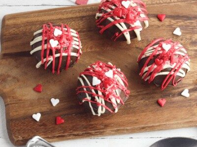 hot chocolate bombs decorated for Valentine's Day