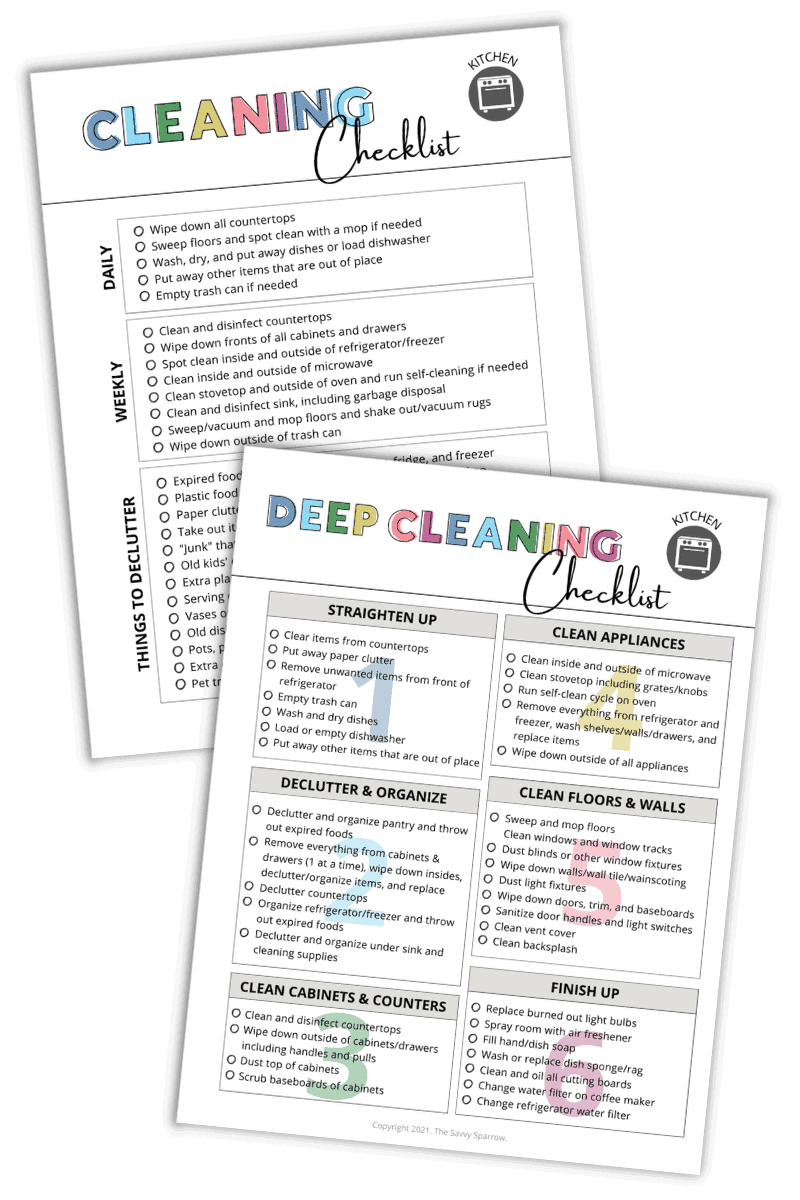free printable kitchen cleaning checklist