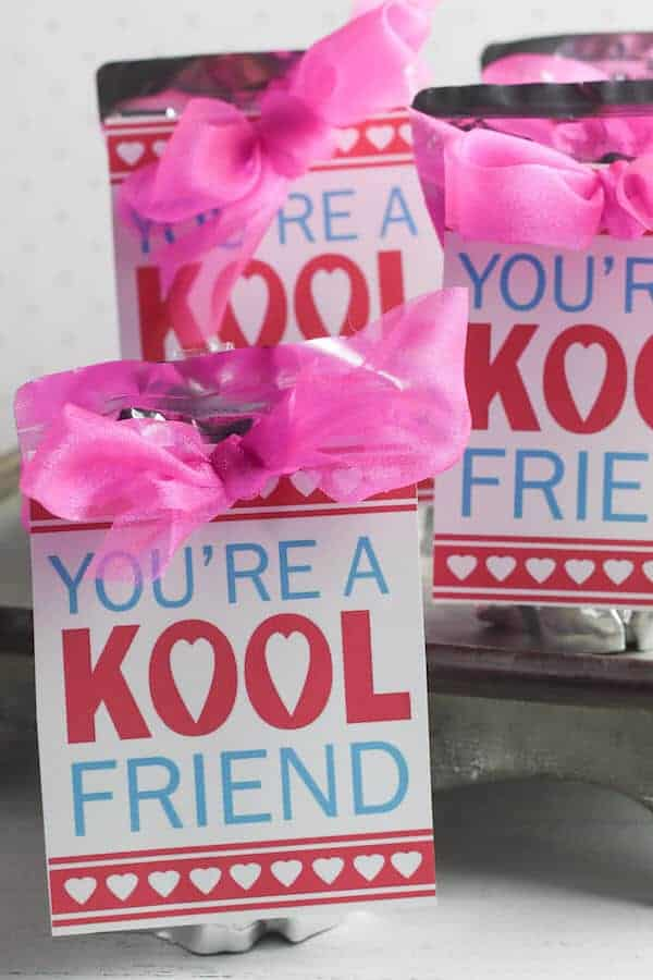 Valentines that say You're a Kool friend attached to juice boxes