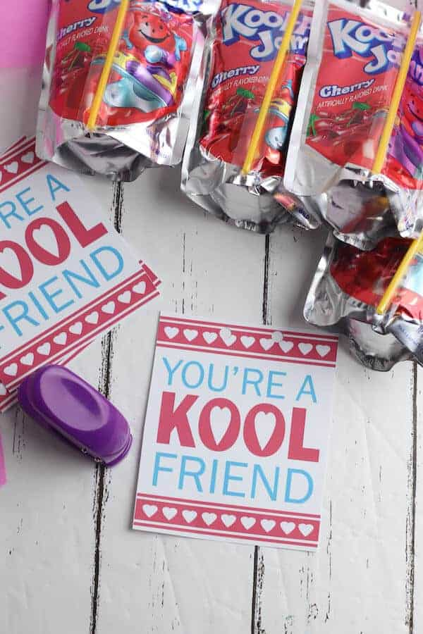 """free printable valentines that say """"You're a Kool Friend"""""""