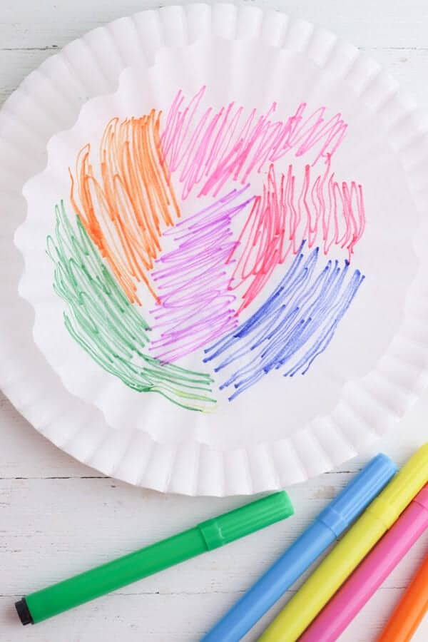 colored markers on a coffee filter to dye easter eggs