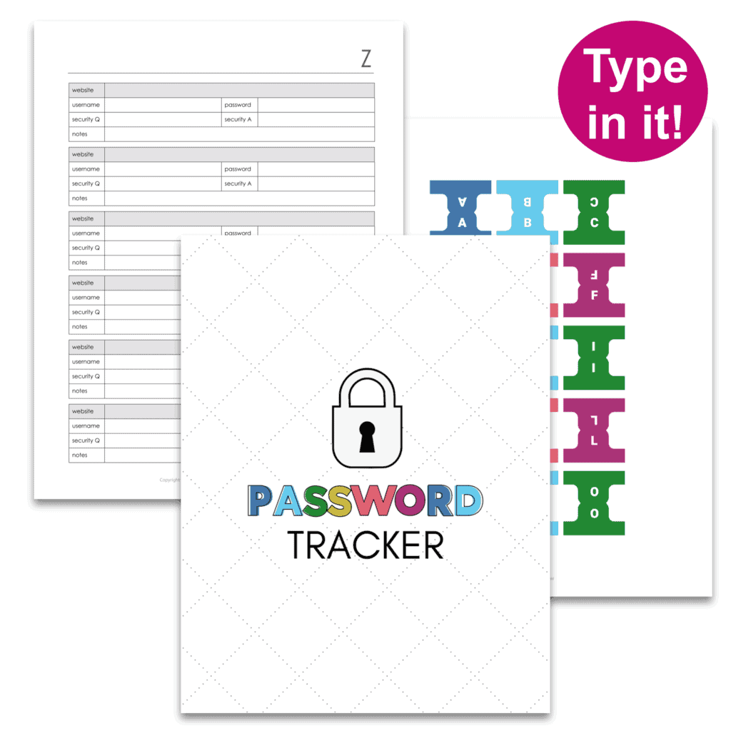 printable password tracker pages