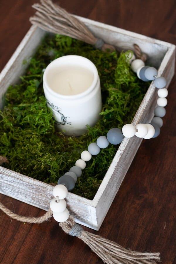 wood bead garland in a centerpiece