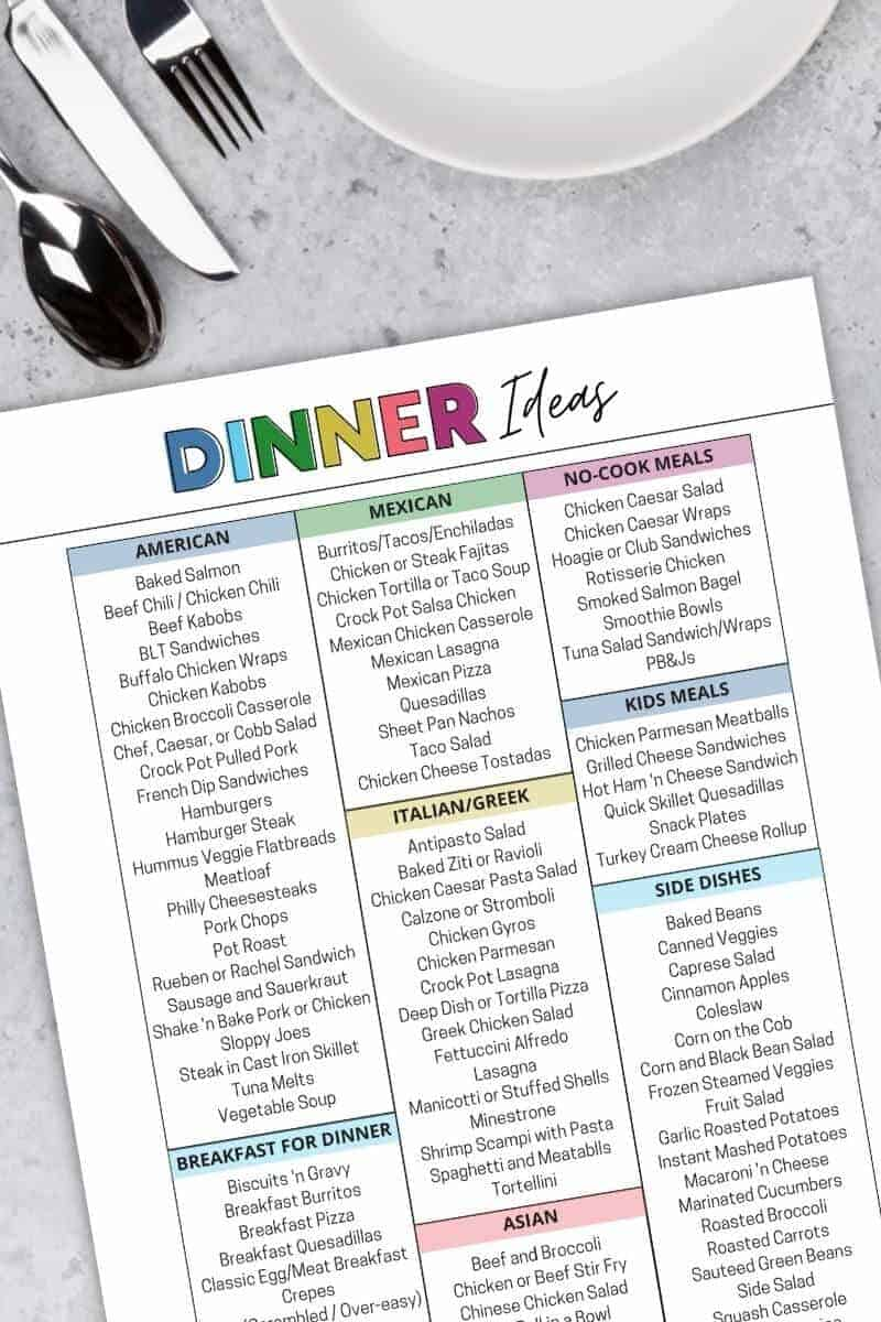 printable list of meals for dinner