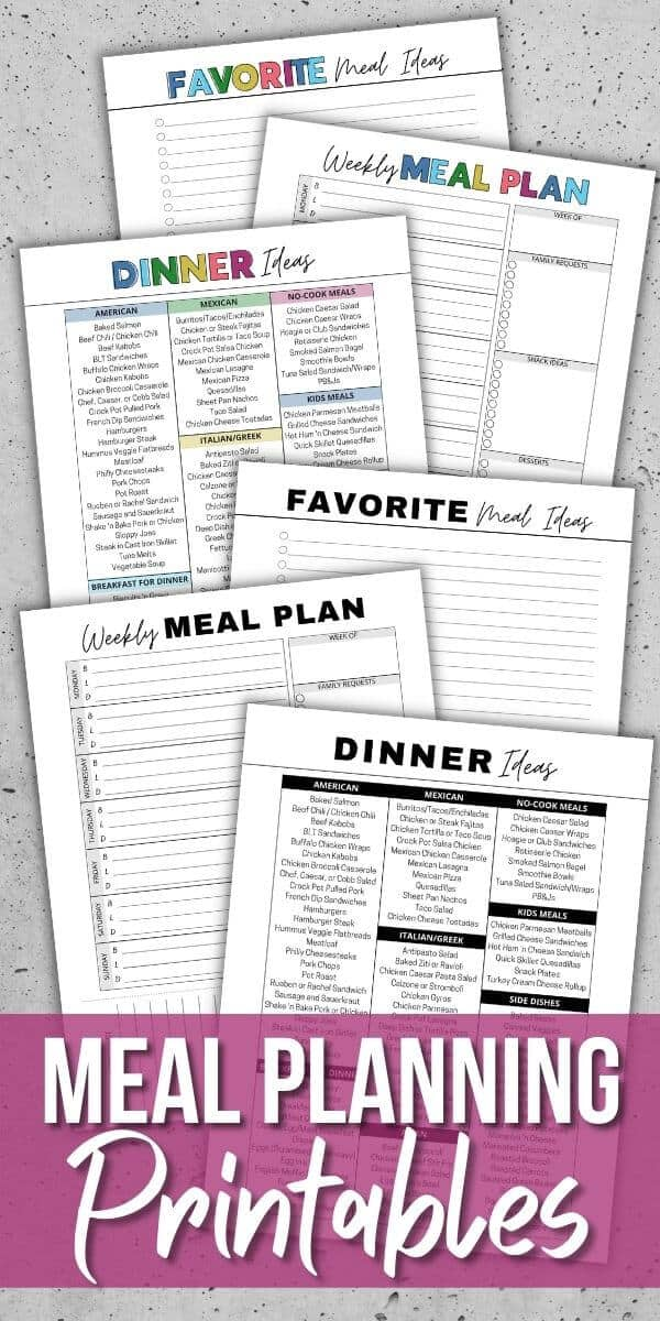 free printable list of meals for dinner and meal plan worksheet