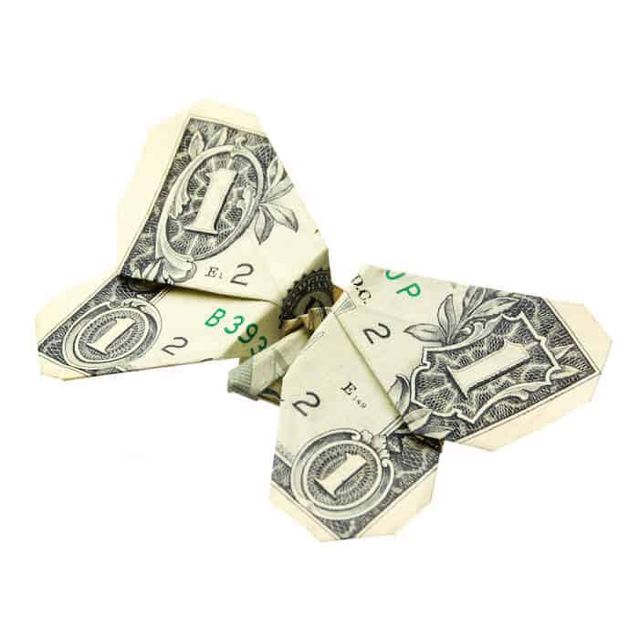 dollar bill folded like a butterfly
