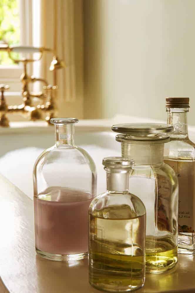 bath oils near a bubble bath