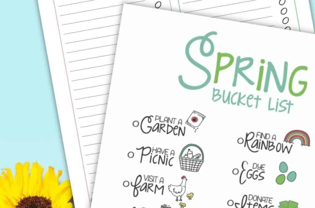 free printable spring bucket list