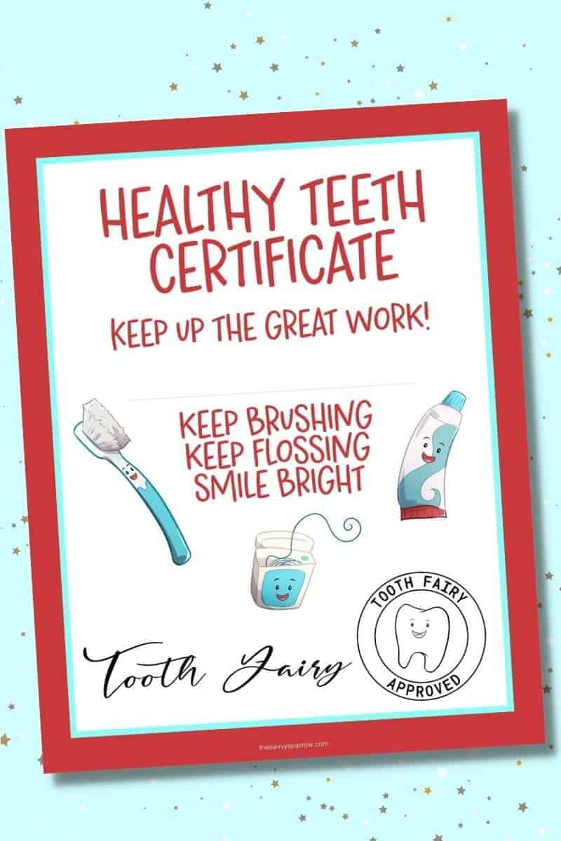 printable tooth fairy certificate