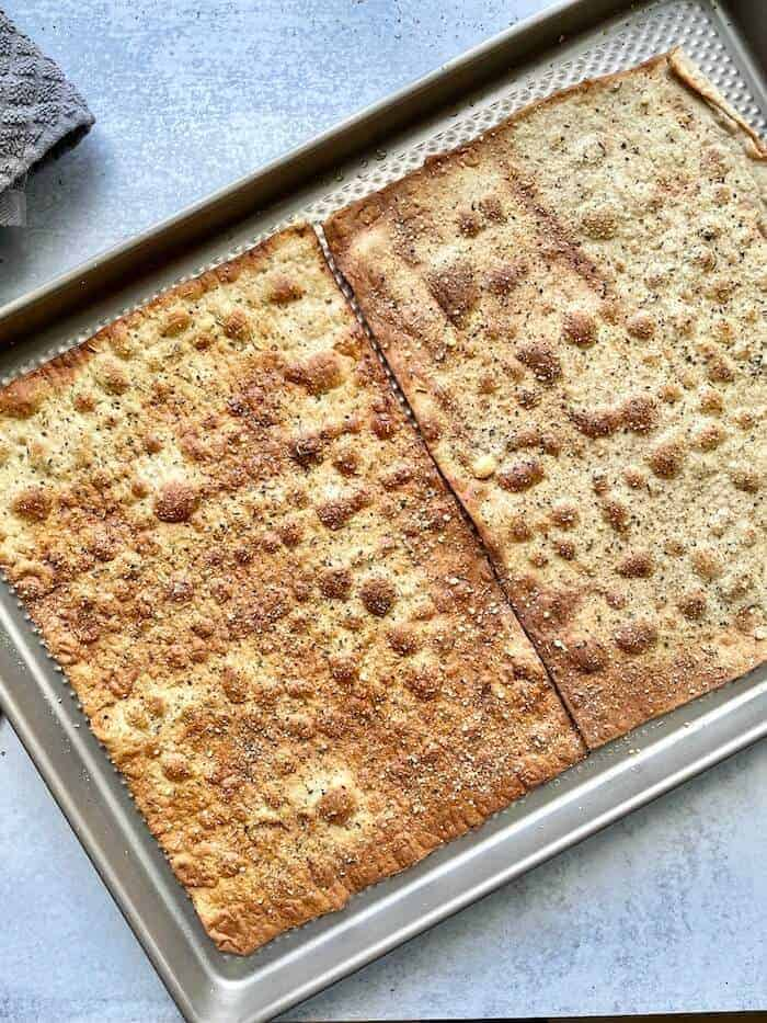 baked flatbread on a cookie sheet