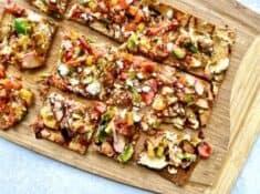 vegetarian flatbread on a cutting board