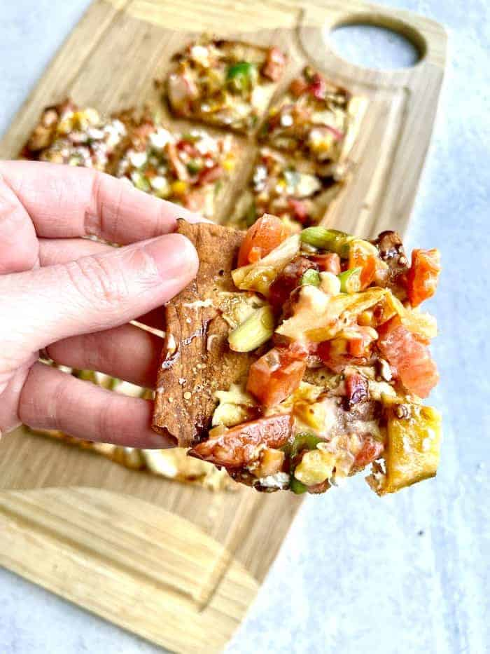 piece of vegetarian flatbread