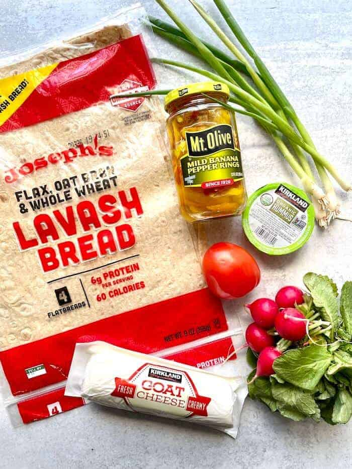 ingredients for vegetarian flatbreads