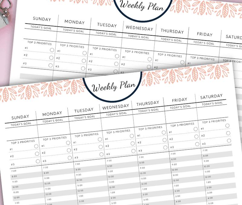 free printable weekly plan template