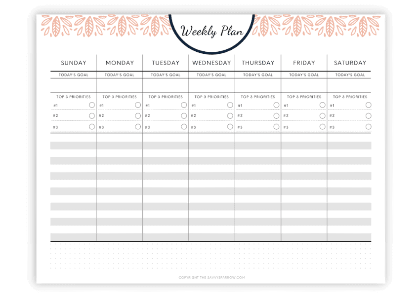 printable weekly plan template