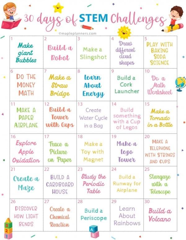 printable 30 day STEM challenge for kids