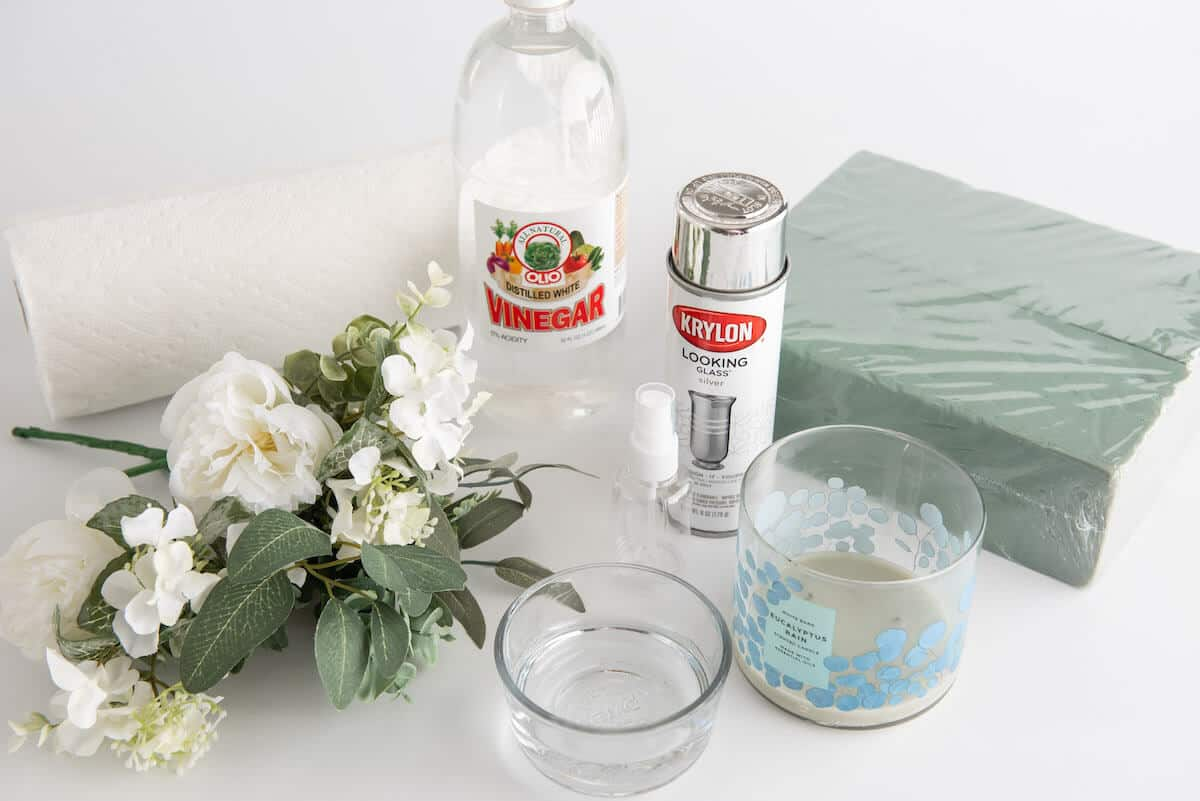 supplies needed for DIY faux mercury glass vase
