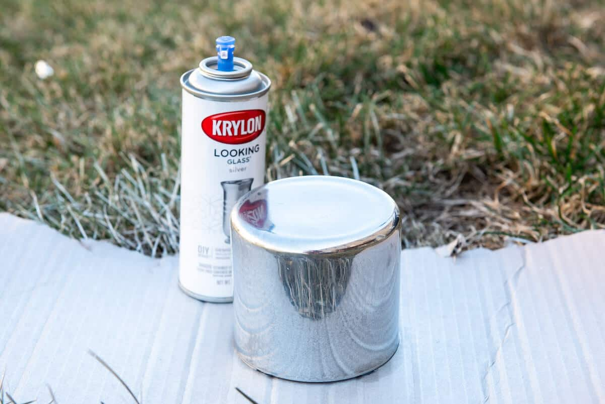 glass jar sprayed with krylon looking glass spray paint