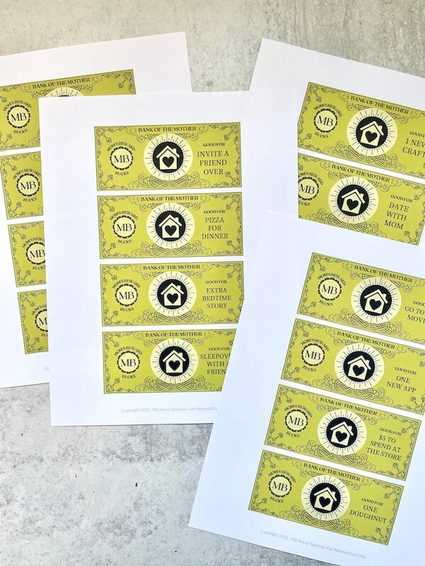 reward coupons for kids printed out