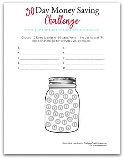 30 day money saving challenge worksheet