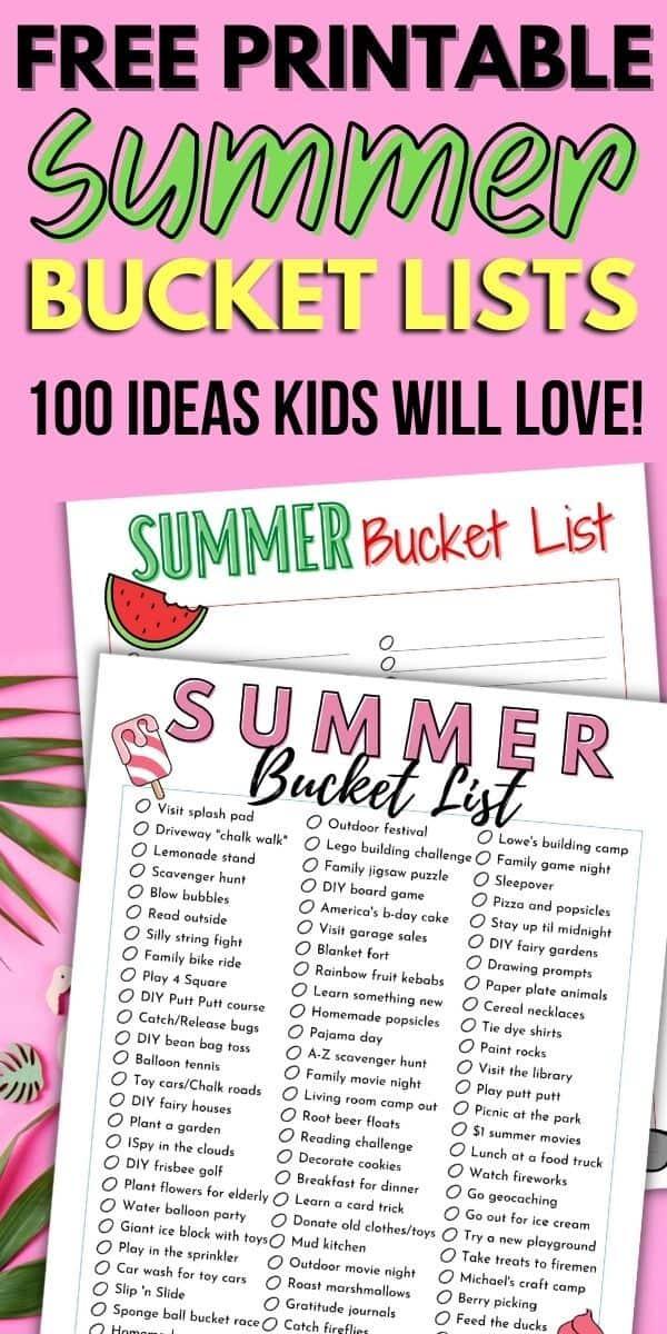 free printable summer bucket lists
