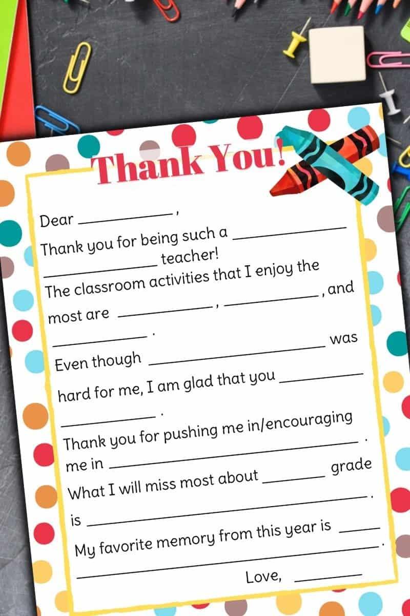 free printable teacher appreciation letter
