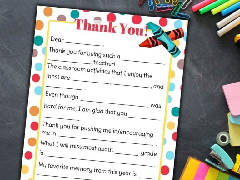 Teacher Appreciation Letter – Free Printable Fill in the Blanks Template!