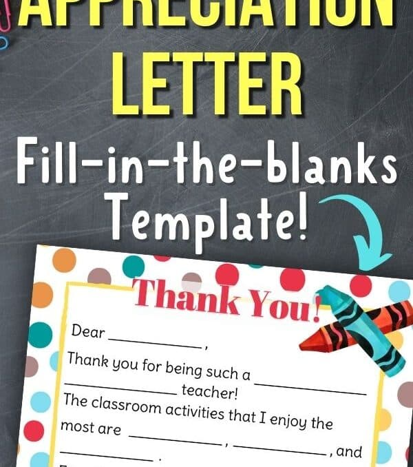 """mock up of letter and text that says """"teacher appreciation letter"""" fill in the blanks template"""""""