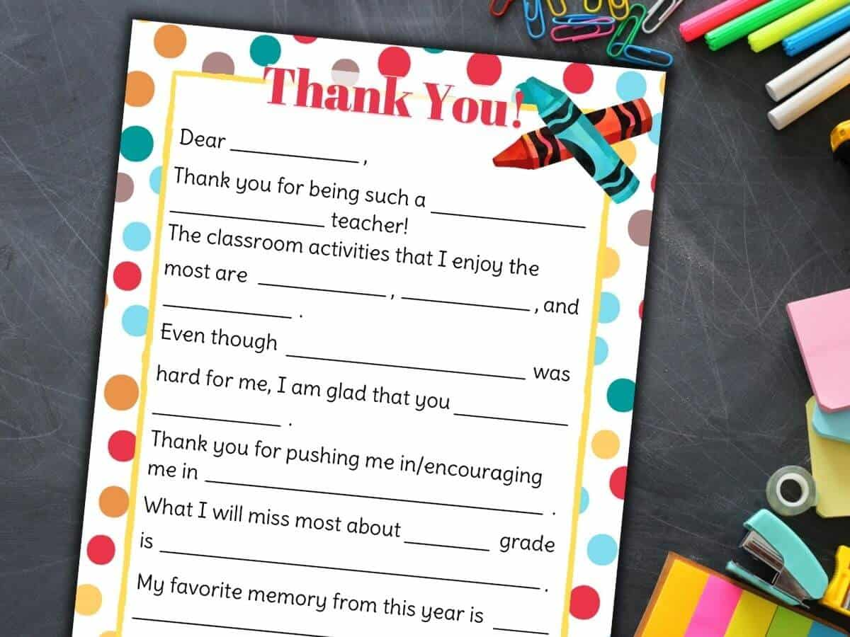 Teacher Appreciation Letter Free Printable Fill In The Blanks Template