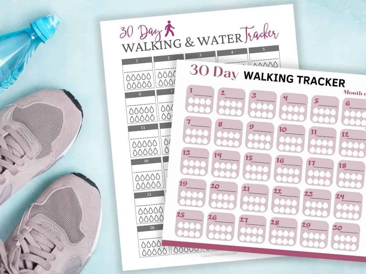 2 free printable walking log tracker sheets