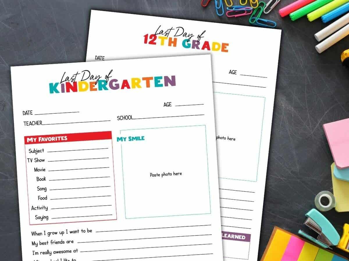 last day of school printable worksheets