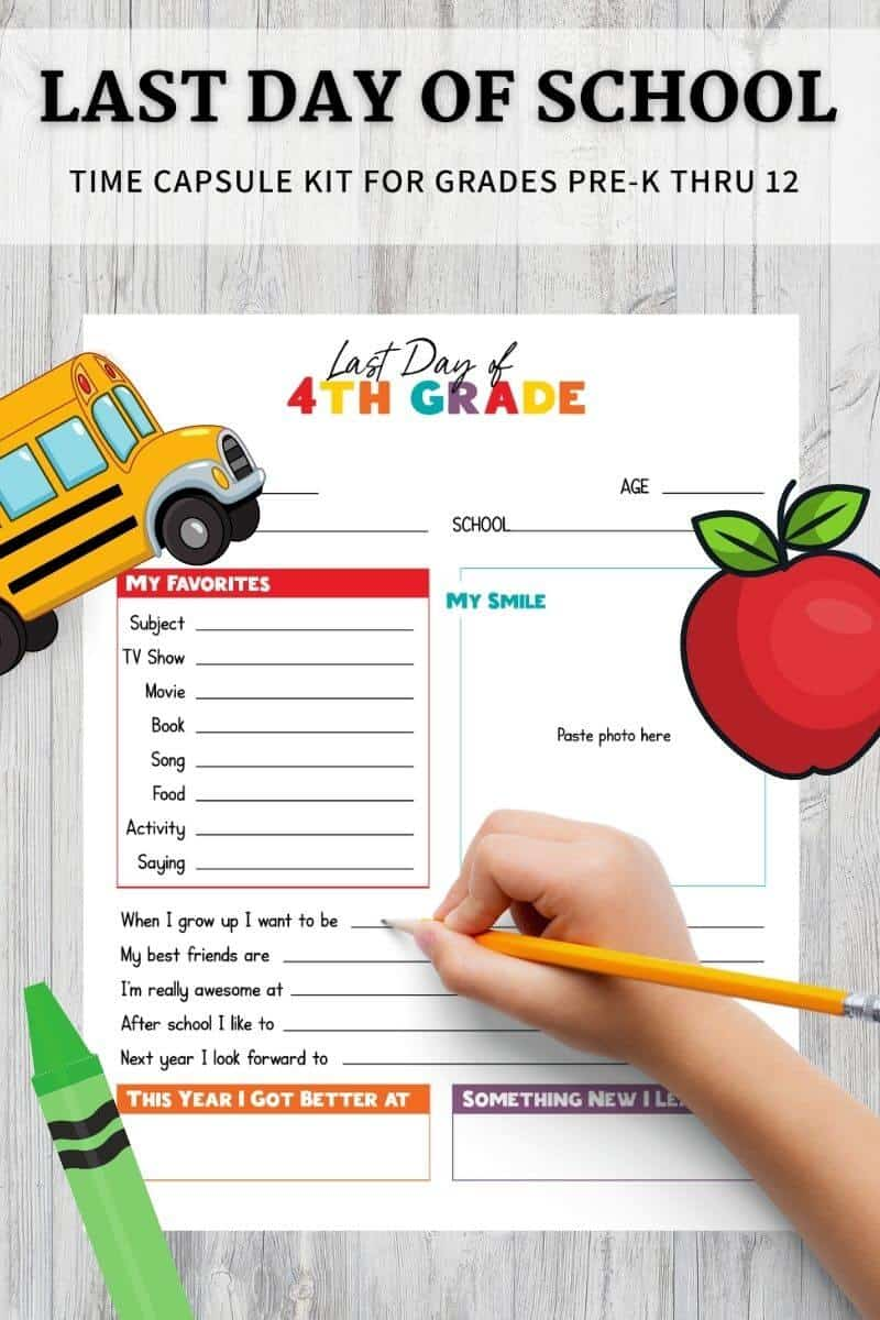 printable all about me worksheet for last day of school