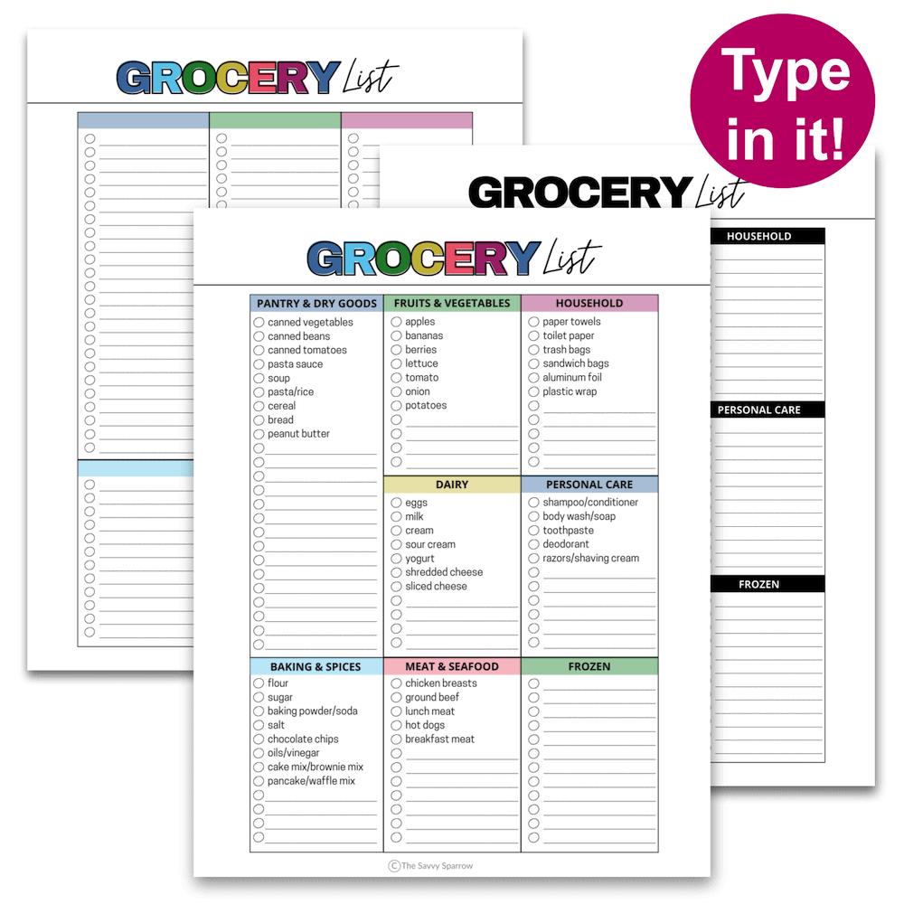 printable grocery lists