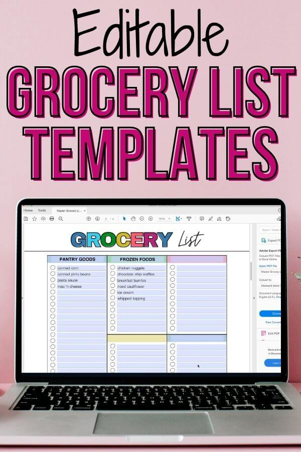 """grocery list PDF on laptop screen with text that says """"editable grocery list templates"""""""