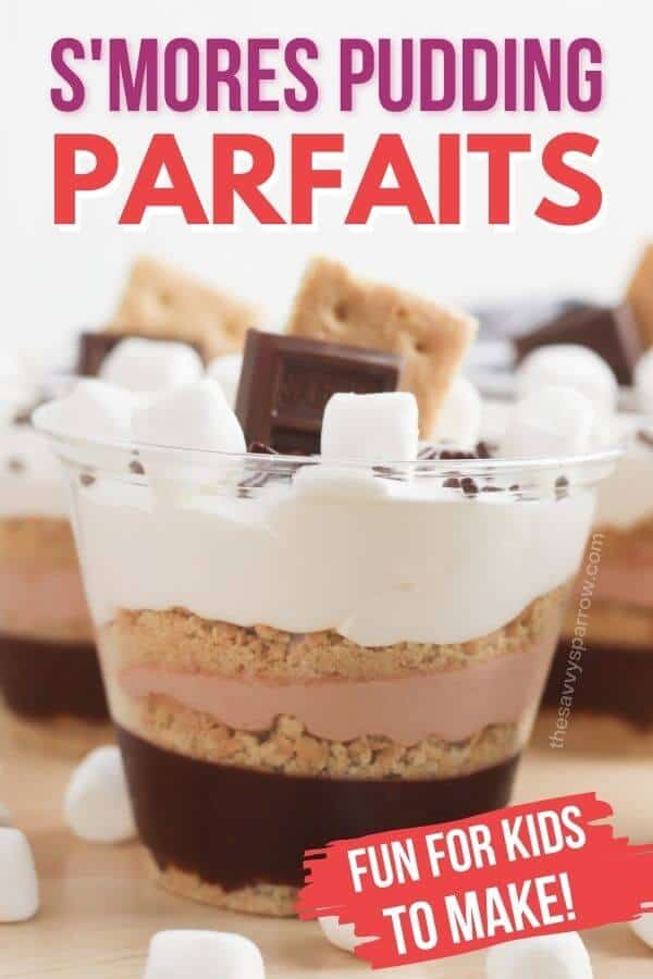 pudding dessert cups with text that says s'mores pudding parfaits