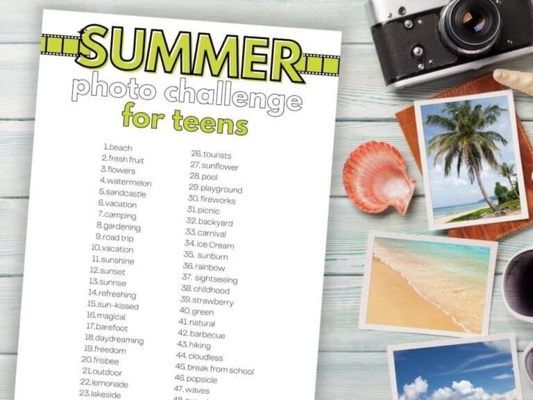 Summer Photo Challenge with Free Printable – A Fun Activity for Teens!