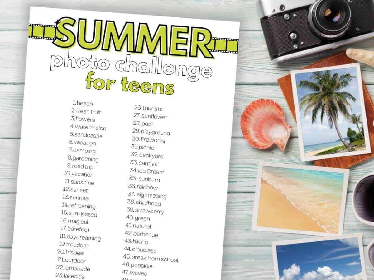 printable summer photo challenge for teens