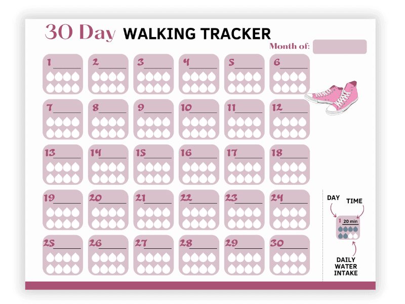 30 day walking tracker printable with space to record 8 cups of water per day