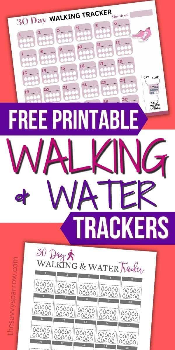 mockup of 2 walking and water tracker printables