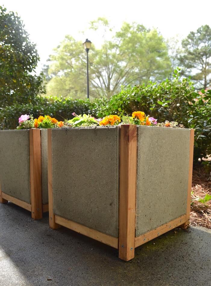DIY planter boxes made from concrete pavers