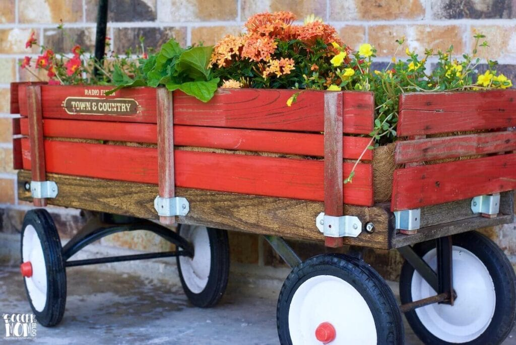 wagon repurposed into an outdoor planter