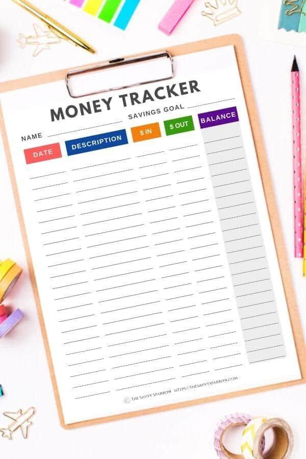 printable allowance tracker worksheet