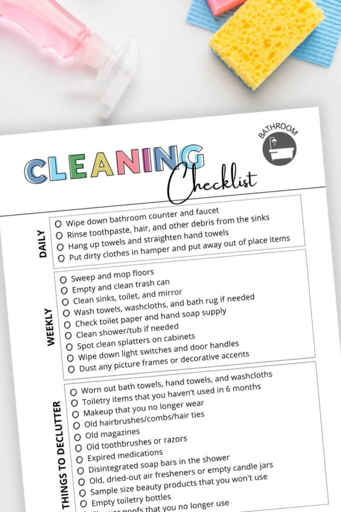 printable bathroom cleaning checklist with daily and weekly jobs